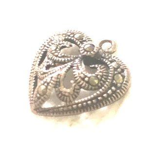 Sterling marcasite vintage heart pendant